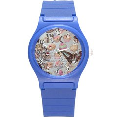 French Pastry Vintage Scripts Floral Scripts Butterfly Eiffel Tower Vintage Paris Fashion Plastic Sport Watch (Small)