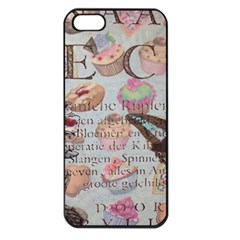 French Pastry Vintage Scripts Floral Scripts Butterfly Eiffel Tower Vintage Paris Fashion Apple iPhone 5 Seamless Case (Black)