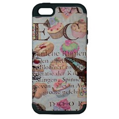 French Pastry Vintage Scripts Floral Scripts Butterfly Eiffel Tower Vintage Paris Fashion Apple iPhone 5 Hardshell Case (PC+Silicone)