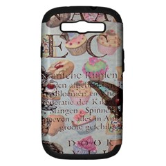 French Pastry Vintage Scripts Floral Scripts Butterfly Eiffel Tower Vintage Paris Fashion Samsung Galaxy S III Hardshell Case (PC+Silicone)