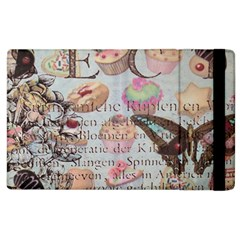 French Pastry Vintage Scripts Floral Scripts Butterfly Eiffel Tower Vintage Paris Fashion Apple iPad 3/4 Flip Case