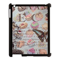 French Pastry Vintage Scripts Floral Scripts Butterfly Eiffel Tower Vintage Paris Fashion Apple iPad 3/4 Case (Black)