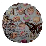 French Pastry Vintage Scripts Floral Scripts Butterfly Eiffel Tower Vintage Paris Fashion 18  Premium Round Cushion  Back