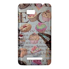 French Pastry Vintage Scripts Floral Scripts Butterfly Eiffel Tower Vintage Paris Fashion HTC One SU T528W Hardshell Case
