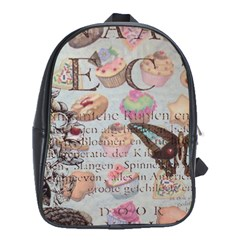 French Pastry Vintage Scripts Floral Scripts Butterfly Eiffel Tower Vintage Paris Fashion School Bag (XL)