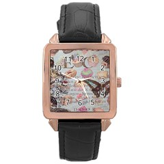French Pastry Vintage Scripts Floral Scripts Butterfly Eiffel Tower Vintage Paris Fashion Rose Gold Leather Watch
