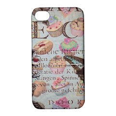 French Pastry Vintage Scripts Floral Scripts Butterfly Eiffel Tower Vintage Paris Fashion Apple iPhone 4/4S Hardshell Case with Stand