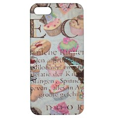 French Pastry Vintage Scripts Floral Scripts Butterfly Eiffel Tower Vintage Paris Fashion Apple iPhone 5 Hardshell Case with Stand