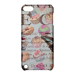 French Pastry Vintage Scripts Floral Scripts Butterfly Eiffel Tower Vintage Paris Fashion Apple iPod Touch 5 Hardshell Case with Stand