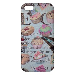 French Pastry Vintage Scripts Floral Scripts Butterfly Eiffel Tower Vintage Paris Fashion iPhone 5 Premium Hardshell Case