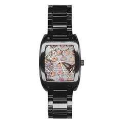 French Pastry Vintage Scripts Floral Scripts Butterfly Eiffel Tower Vintage Paris Fashion Men s Stainless Steel Barrel Analog Watch