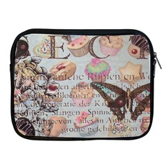 French Pastry Vintage Scripts Floral Scripts Butterfly Eiffel Tower Vintage Paris Fashion Apple iPad 2/3/4 Zipper Case