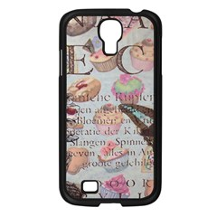 French Pastry Vintage Scripts Floral Scripts Butterfly Eiffel Tower Vintage Paris Fashion Samsung Galaxy S4 I9500/ I9505 (black)