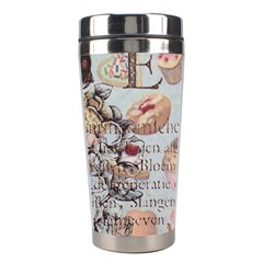 French Pastry Vintage Scripts Floral Scripts Butterfly Eiffel Tower Vintage Paris Fashion Stainless Steel Travel Tumbler