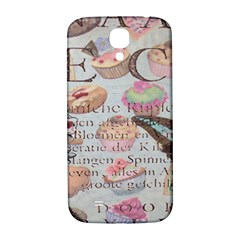 French Pastry Vintage Scripts Floral Scripts Butterfly Eiffel Tower Vintage Paris Fashion Samsung Galaxy S4 I9500/i9505  Hardshell Back Case