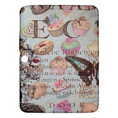 French Pastry Vintage Scripts Floral Scripts Butterfly Eiffel Tower Vintage Paris Fashion Samsung Galaxy Tab 3 (10 1 ) P5200 Hardshell Case