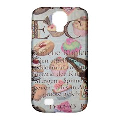 French Pastry Vintage Scripts Floral Scripts Butterfly Eiffel Tower Vintage Paris Fashion Samsung Galaxy S4 Classic Hardshell Case (pc+silicone)