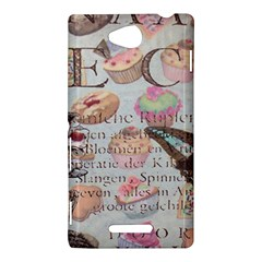 French Pastry Vintage Scripts Floral Scripts Butterfly Eiffel Tower Vintage Paris Fashion Sony Xperia C (S39h) Hardshell Case