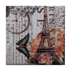 Vintage Clock Blue Butterfly Paris Eiffel Tower Fashion Ceramic Tile