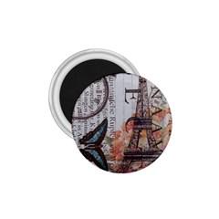 Vintage Clock Blue Butterfly Paris Eiffel Tower Fashion 1.75  Button Magnet