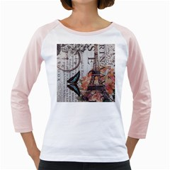 Vintage Clock Blue Butterfly Paris Eiffel Tower Fashion Womens  Long Sleeve Raglan T-shirt (White)