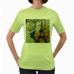 Vintage Clock Blue Butterfly Paris Eiffel Tower Fashion Womens  T-shirt (Green)