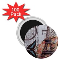 Vintage Clock Blue Butterfly Paris Eiffel Tower Fashion 1 75  Button Magnet (100 Pack)