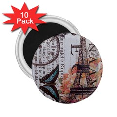 Vintage Clock Blue Butterfly Paris Eiffel Tower Fashion 2 25  Button Magnet (10 Pack)