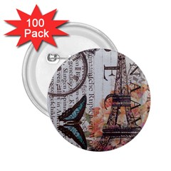 Vintage Clock Blue Butterfly Paris Eiffel Tower Fashion 2.25  Button (100 pack)