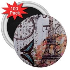 Vintage Clock Blue Butterfly Paris Eiffel Tower Fashion 3  Button Magnet (100 pack)
