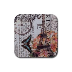 Vintage Clock Blue Butterfly Paris Eiffel Tower Fashion Drink Coasters 4 Pack (Square)