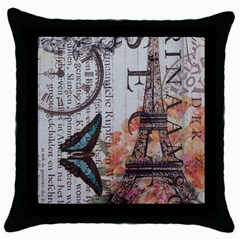 Vintage Clock Blue Butterfly Paris Eiffel Tower Fashion Black Throw Pillow Case