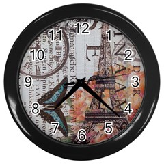 Vintage Clock Blue Butterfly Paris Eiffel Tower Fashion Wall Clock (Black)