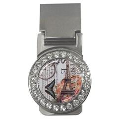 Vintage Clock Blue Butterfly Paris Eiffel Tower Fashion Money Clip (cz)