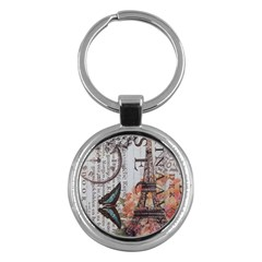 Vintage Clock Blue Butterfly Paris Eiffel Tower Fashion Key Chain (round)