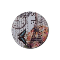 Vintage Clock Blue Butterfly Paris Eiffel Tower Fashion Drink Coaster (round)