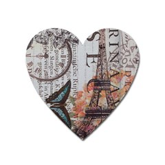Vintage Clock Blue Butterfly Paris Eiffel Tower Fashion Magnet (Heart)