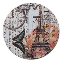 Vintage Clock Blue Butterfly Paris Eiffel Tower Fashion Magnet 5  (Round)