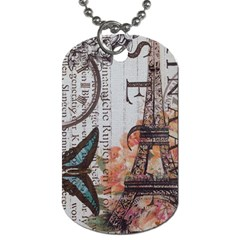 Vintage Clock Blue Butterfly Paris Eiffel Tower Fashion Dog Tag (One Sided)