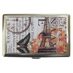 Vintage Clock Blue Butterfly Paris Eiffel Tower Fashion Cigarette Money Case