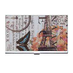 Vintage Clock Blue Butterfly Paris Eiffel Tower Fashion Business Card Holder