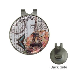 Vintage Clock Blue Butterfly Paris Eiffel Tower Fashion Hat Clip with Golf Ball Marker