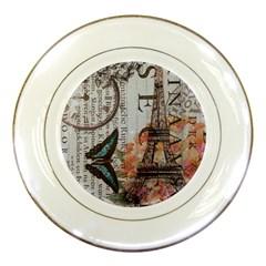 Vintage Clock Blue Butterfly Paris Eiffel Tower Fashion Porcelain Display Plate