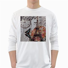Vintage Clock Blue Butterfly Paris Eiffel Tower Fashion Mens' Long Sleeve T-shirt (White)
