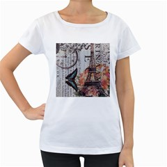 Vintage Clock Blue Butterfly Paris Eiffel Tower Fashion Womens' Maternity T-shirt (White)