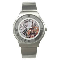 Vintage Clock Blue Butterfly Paris Eiffel Tower Fashion Stainless Steel Watch (Unisex)