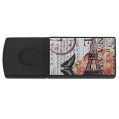 Vintage Clock Blue Butterfly Paris Eiffel Tower Fashion 4GB USB Flash Drive (Rectangle)