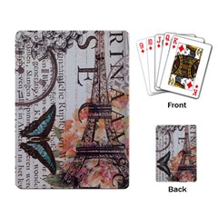 Vintage Clock Blue Butterfly Paris Eiffel Tower Fashion Playing Cards Single Design
