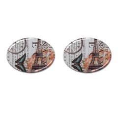Vintage Clock Blue Butterfly Paris Eiffel Tower Fashion Cufflinks (oval)