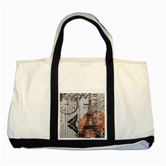 Vintage Clock Blue Butterfly Paris Eiffel Tower Fashion Two Toned Tote Bag